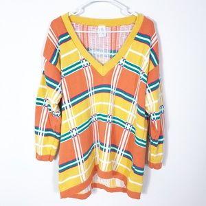 Vintage 80s Oversized Orange Plaid Slouchy Sweater
